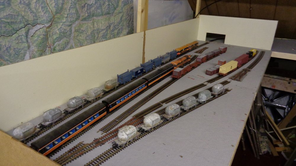 Checking out train lengths and general siding layout..JPG